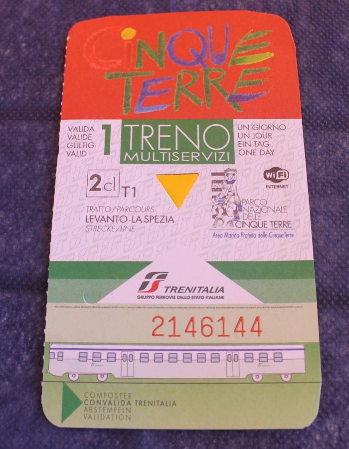 ticket de trem cinque terre